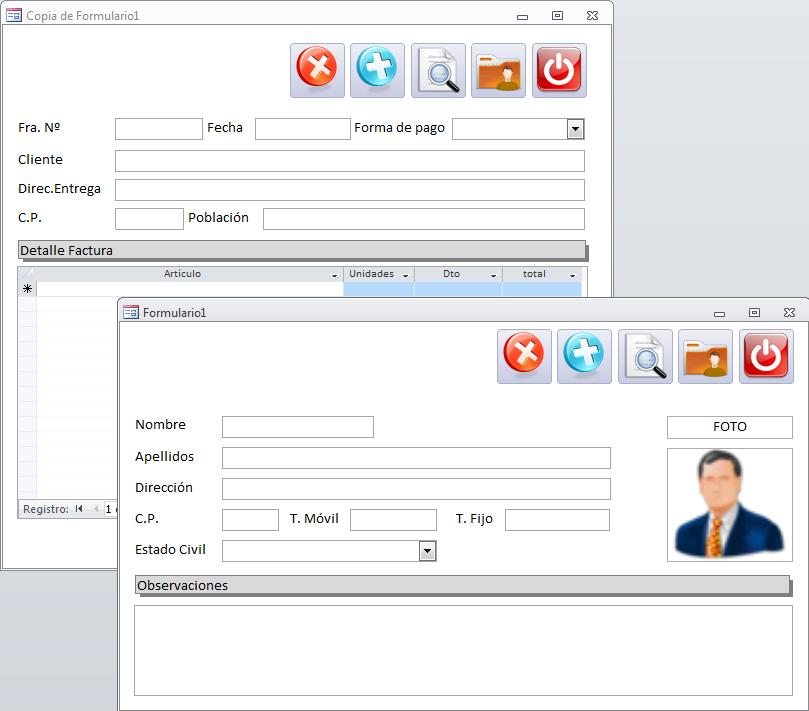 Microsoft Access - La posición de los botones