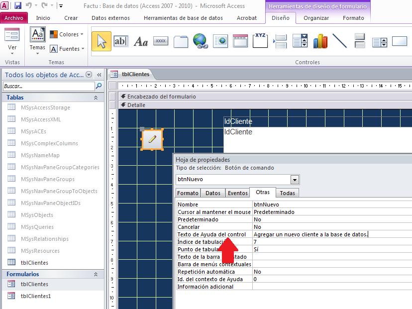 Texto de ayuda al control en Microsoft Access