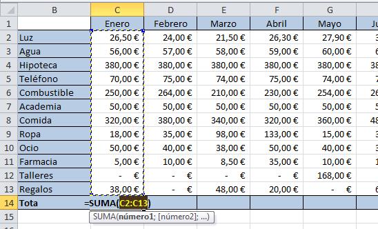 Microsoft Excel - Autosuma