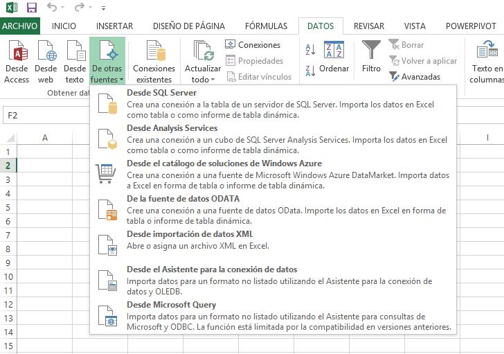 Excel, conexión a datos externos
