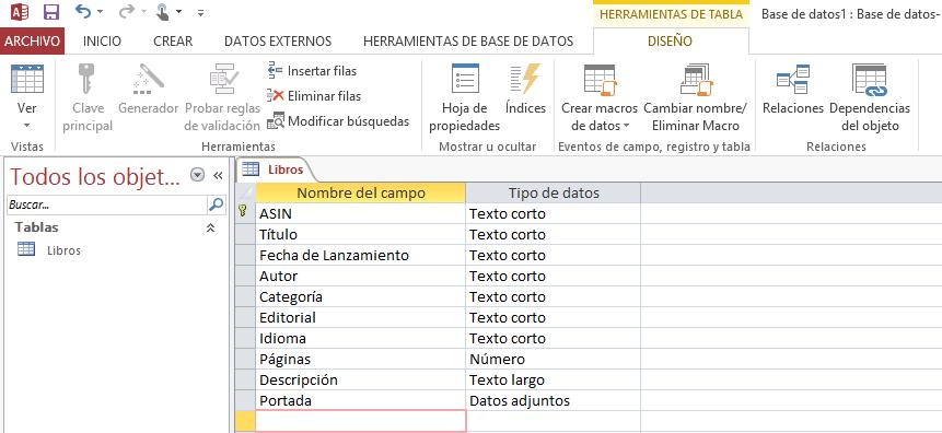Base de datos de una biblioteca en access 2016