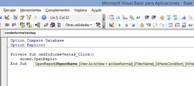 Microsoft Access - Comando VBA OpenReport