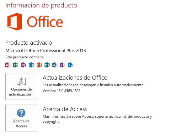 Actualización de Access 2013