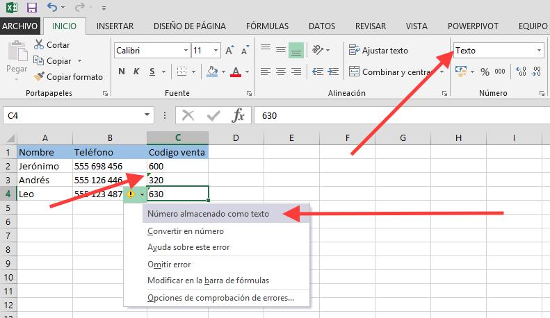 Excel Comprobación de errores
