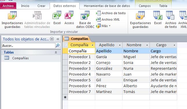 Representación de una tabla con información en Microsoft Access