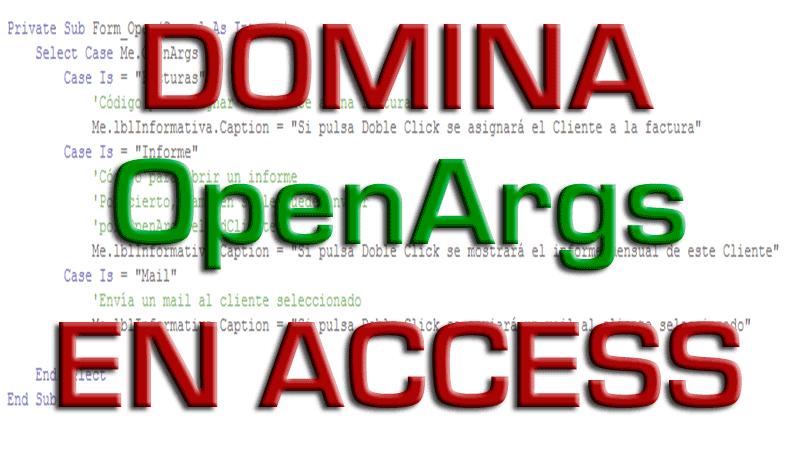Domina OpenArgs en Access